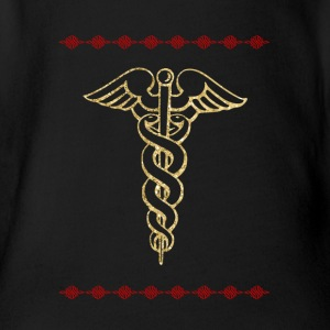 Golden rn symbol nurse nurse - Organic Short-sleeved Baby Bodysuit