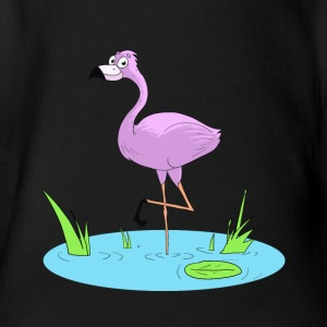 Pink Flamingo - Organic Short-sleeved Baby Bodysuit