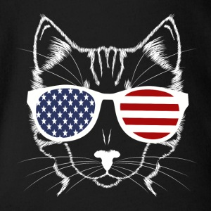Meowica Funny American Cat With Sunglasses - Organic Short-sleeved Baby Bodysuit
