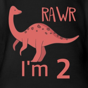 To the 2 birthday for Guys girl Brachiosaurus - Organic Short-sleeved Baby Bodysuit