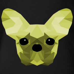 French Bulldog verde Low Poly design - Body ecologico per neonato a manica corta
