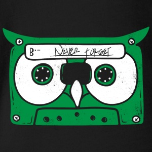 Owl Cassette music - Organic Short-sleeved Baby Bodysuit
