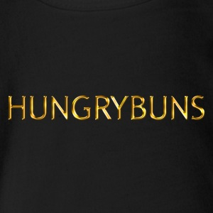 'HUNGRYBUNS' in gold - Organic Short-sleeved Baby Bodysuit