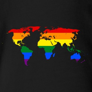Rainbow world map - Organic Short-sleeved Baby Bodysuit