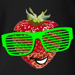 horny strawberry strawberry cool sunglasses Hipste - Organic Short-sleeved Baby Bodysuit