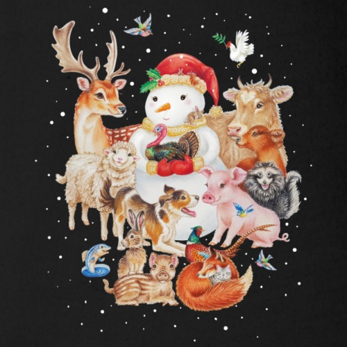 winter animals - Organic Short-sleeved Baby Bodysuit
