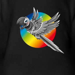 Parrot colorful flying color rainbow children comic - Organic Short-sleeved Baby Bodysuit