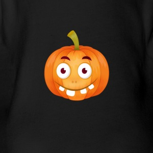 emoji pumpkin Happy Thanksgiving t-shirt comic stup - Organic Short-sleeved Baby Bodysuit