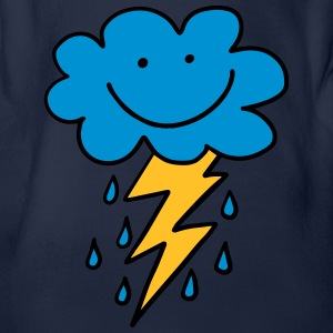 Funny cloud with flash, raindrops, comic, emoji - Organic Short-sleeved Baby Bodysuit