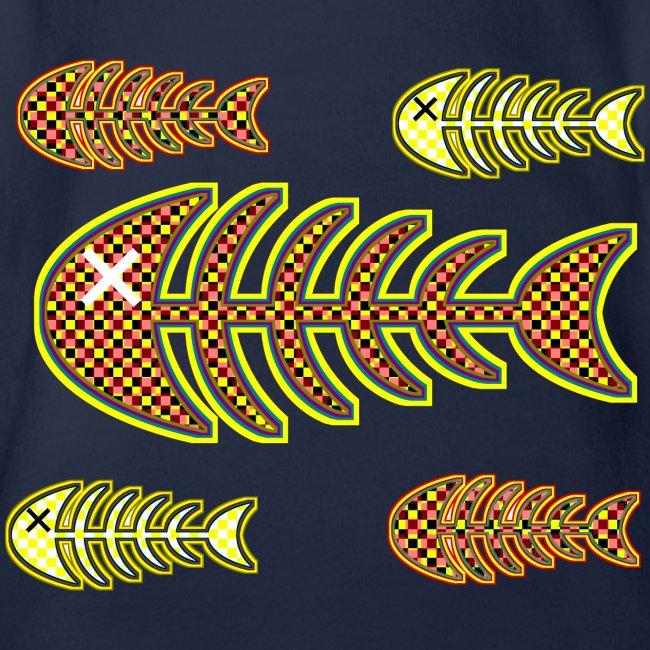 döda fiskar - ben i orange och gult