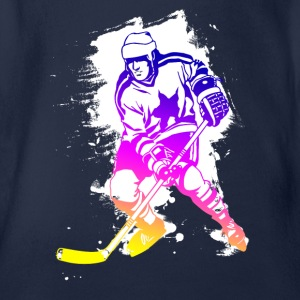hockey rainbow spatter hockey player tor cool - Organic Short-sleeved Baby Bodysuit