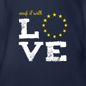made it with love EU europe baby birth baptism star - Organic Short-sleeved Baby Bodysuit