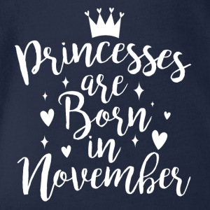 Princesses are born in November - Organic Short-sleeved Baby Bodysuit