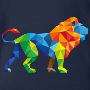 Colorful Lion - Triangle Art - Organic Short-sleeved Baby Bodysuit