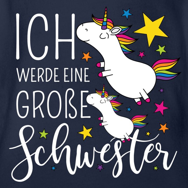Baby T-Shirt Kurzarm Geschwisterliebe Baby Ich werde eine gro/ße Schwester mit Einh/örnern