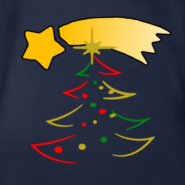 Weihnachtsbaum mit einer Sternschnuppe