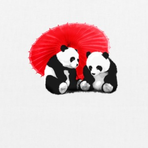 panda love true liebe Funny Asia Schirm together - Bio-Stoffbeutel