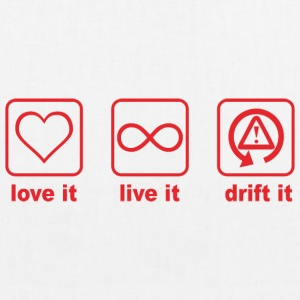 love it live it drift it red design - EarthPositive Tote Bag
