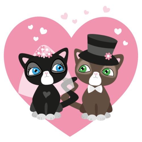Katzen-Braut und Katzen-Bräutigam - Hochzeitspaar - Bio-Stoffbeutel