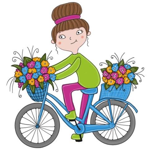 Bine - Fahrrad mit Blumenkorb - Bio-Stoffbeutel
