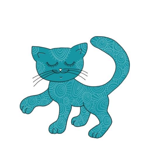 Spirituell anmutende Katze in Türkis mit Muster - Bio-Stoffbeutel