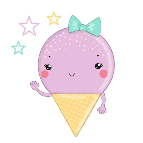 Kawaii Eis in Rosa und Mint - Bio-Stoffbeutel