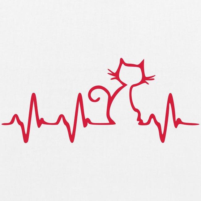 Vorschau: Cat Heartbeat - Bio-Stoffbeutel
