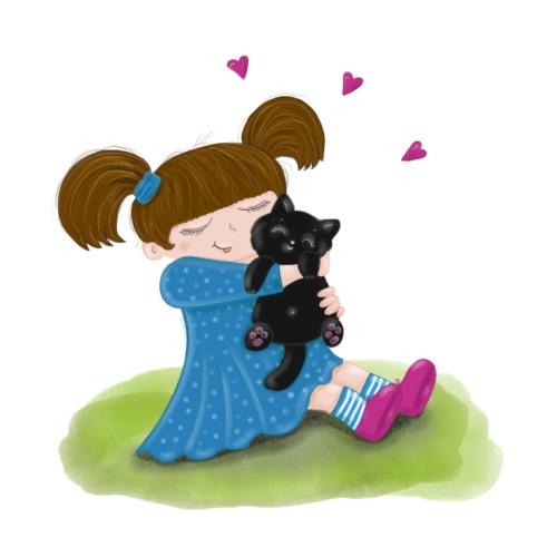 Katzenliebe - Mädchen knuddelt ihre schwarze Katze - Bio-Stoffbeutel