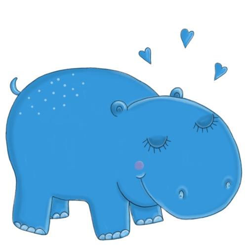 Kleines blaues Nilpferd - Bio-Stoffbeutel