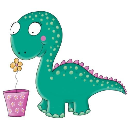 Kleiner Dinosaurier mit Blumentopf - Bio-Stoffbeutel