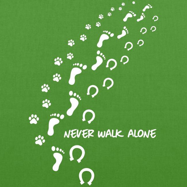 Vorschau: never walk alone hund pferd - Bio-Stoffbeutel