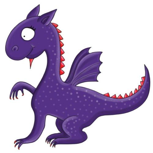 Violetter kleiner Drache mit Flügeln - Bio-Stoffbeutel