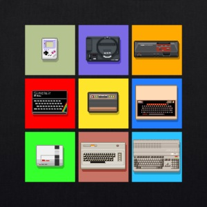 Pixel Retro Gaming Machines Squares - EarthPositive Tote Bag