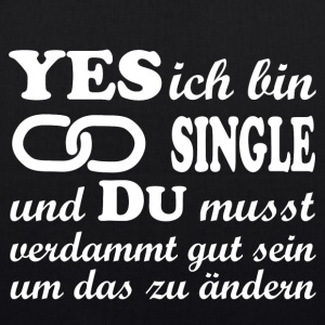 yes ich bin single - Bio-Stoffbeutel