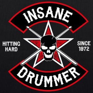 Insane Drummer - Biker Logo - Hitting Hard - EarthPositive Tote Bag
