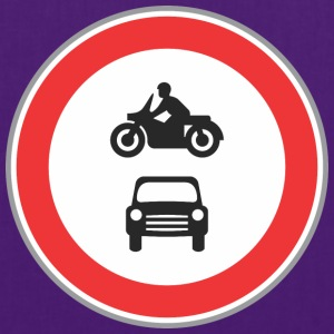 Road sign motorcycle and car - Tote Bag