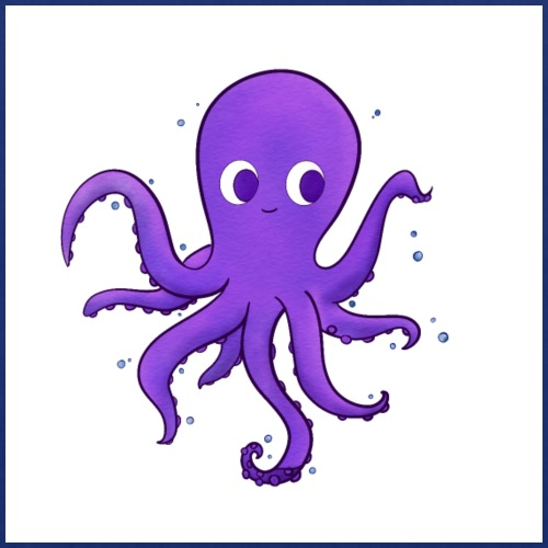 Little purple Octopus, baby nursery wall art decor