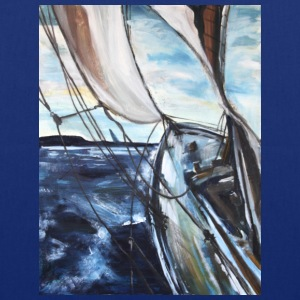 boat sailing vessel Sea Wind storm waves painting - Tote Bag