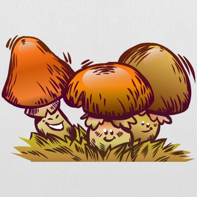 Lustige Pilze Comic Design - Stoffbeutel   Herbst Zeit