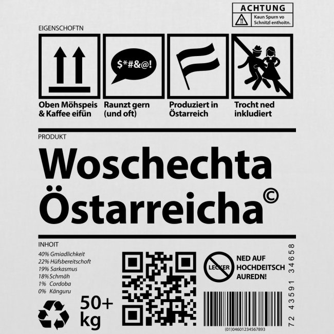 Vorschau: Woschechta Österreicha - Stoffbeutel