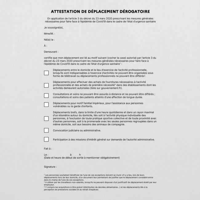 Attestation de déplacement obligatoire 2020