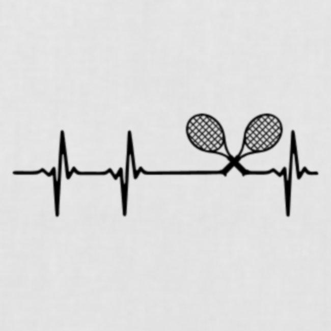 Herzschlag mit Tennisschläager
