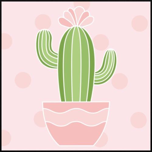 Motyw Główny - Zielony Kaktus na różowym tle - Torba materiałowa