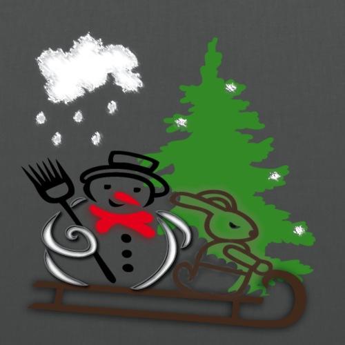 Schneemann mit Schlitten und Hase - Stoffbeutel