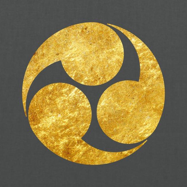 Kobayakawa Mon Japanese clan gold on black