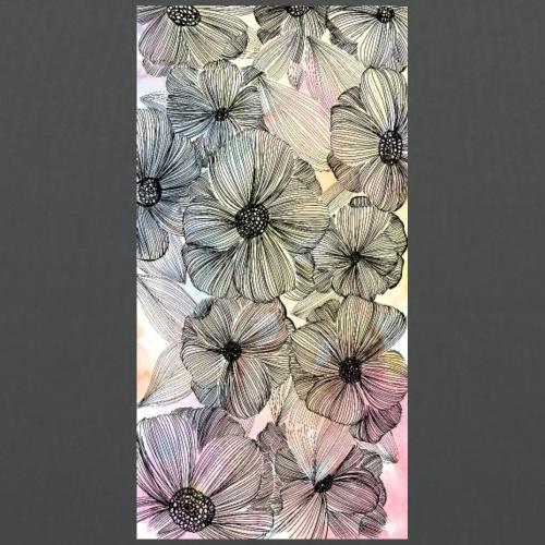 Doodle fiori, inchiostro nero e acquerello - Borsa di stoffa