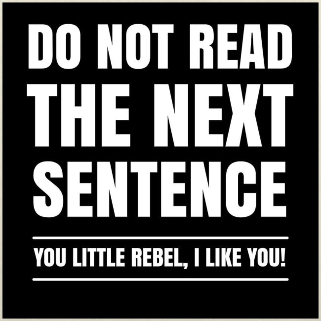 Do Not Read The Next Sentence You Rebel