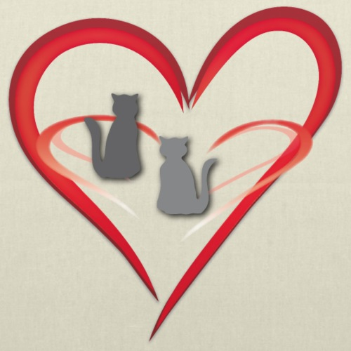 Love - Herz mit zwei Katzen - Stoffbeutel
