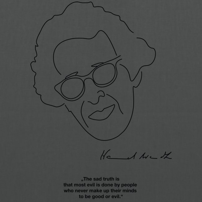 Hannah Arendt Sketch and Quote black