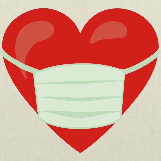 Herz mit Mundschutz